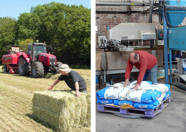 Left, Roger Taylor baling in fine weather and, right, Dorian Spink at the Crux Easton Grain facility